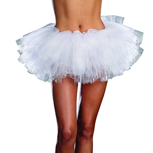 Dreamgirl Women's Tutu Petticoat Dress, White, One Size