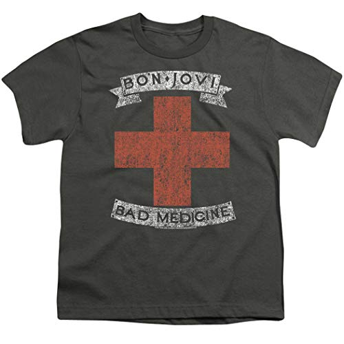 Bon Jovi Bad Medicine New Jersey Album Band Youth T Shirt & Stickers (Large) Charcoal ()