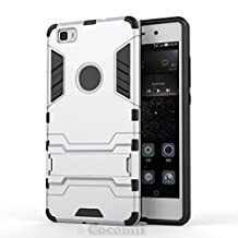 Huawei P8 lite Case, Cocomii Iron Man Armor NEW [Heavy Duty] Premium Tactical Grip Kickstand Shockproof Hard Bumper Shell [Military Defender] Full Body Dual Layer Rugged Cover (Silver)