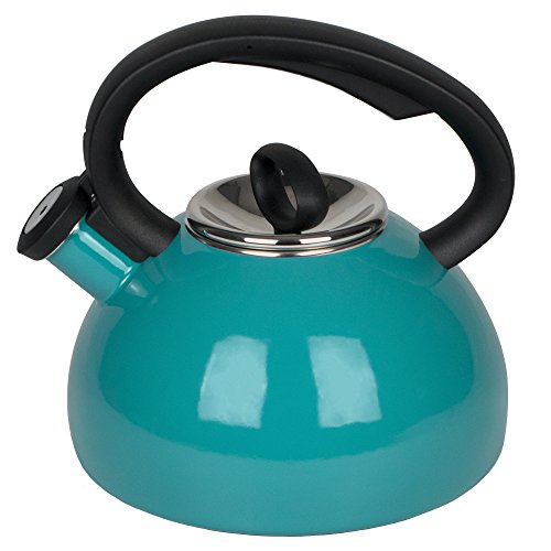 Aidea Enameled Hot Water Kettle - Soft Whistling Tea Kettle 2-quart Turquoise