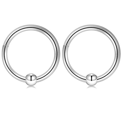 0.375 Inch Captive Ring - GAGABODY 16G Captive Bead Ring Clicker Segment Hoop Nose Ring 10mm 3/8Inch Septum Ring Unisex Hoop Earrings Easy Use Body Piercing Silver