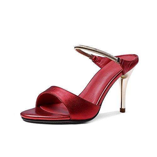 Les Femmes De Talon De Glissement Allhqfashion Large Sandales À Bout Ouvert En Cuir Solide, Rouge, 34