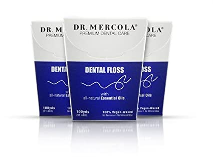 Natural Dental Floss by Mercola - 3 Pack/100 Yards Each by Dr. Mercola
