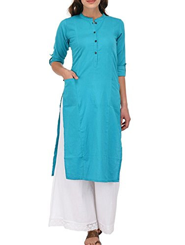 Ladyline Women's Pure Cotton Plain Tunic Top 3/4 Sleeves Roll-up Button Neck with Pocket Long Kurti Kurta, Chest: Body-32-33, Garment-36, Turquoise Blue ()