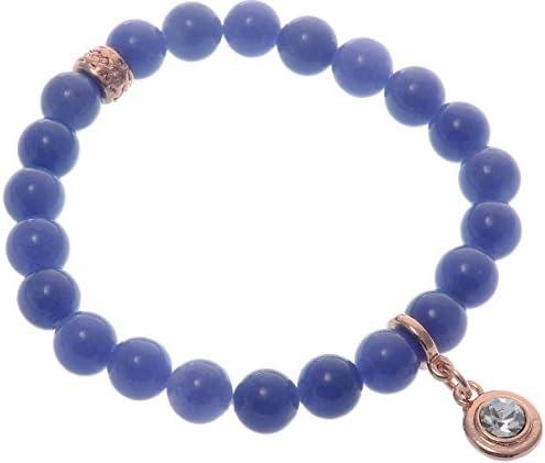 behave Pulsera de piedras preciosas azules con colgante de cristal transparente - Pulsera de piedras preciosas azules - Pulsera de inspiración