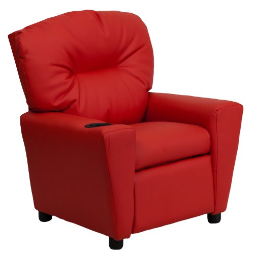 MFO Contemporary Red Vinyl Kids Recliner with Cup Holder