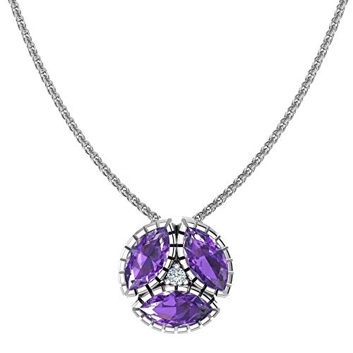 Belinda Jewelz 925 Sterling Silver Womens Gemstone Round Marquise Accent Birthstone Shiny Classic Fine Jewelry Hanging Pendant Chain Necklace, 1.3 Carat Amethyst Purple, 18 Inch