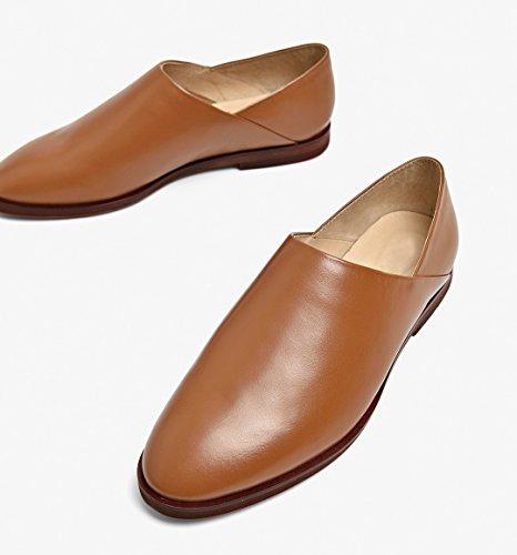 Honeystore Damens Büro Slip-on Schuhe Echtes Leder Oxford Smoking Schuhe Lace-up Loafers Flats Einzelschuhe Braun