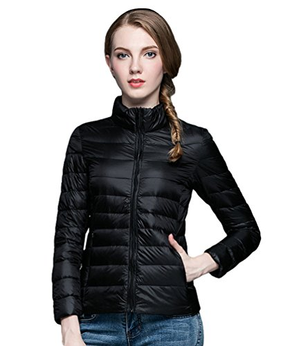 Down Black With Womens Zipper Parka Lightweight Collar Coats Quilted Ultra Puffy LvRao Stand Winterjacket B5Owqq