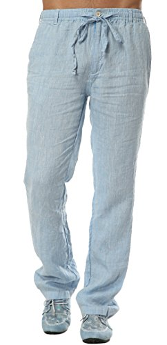 st Straight Leg Linen Thin Pants X-Large Light Blue ()
