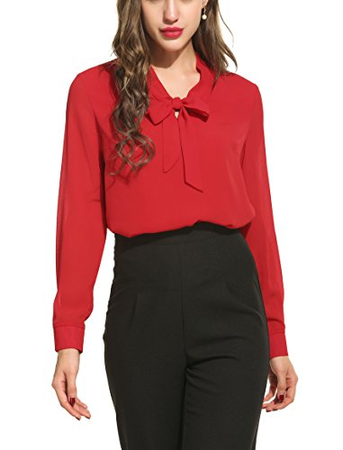 ACEVOG Elegant Shirt Womens Pussycat Bow Tie Neck Long Sleeve Chiffon Business Professional Shirts,Red,Medium by ACEVOG