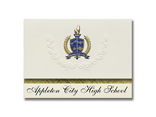 Signature Announcements Appleton City High School (Appleton City, MO) Graduation Announcements, Presidential style, Elite package of 25 with Gold & Blue Metallic Foil -