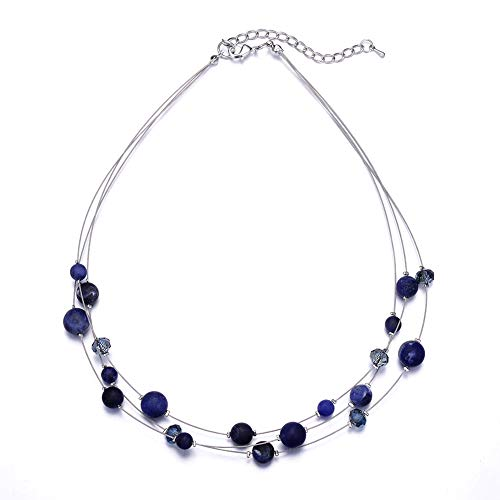 Pearl&Club Crystal Layered Statement Necklace for Women - Choker Necklace with Chunky Silver Chain, Birthday Gifts for Women (03-Navy Blue)