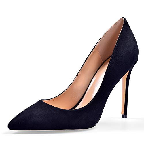 YODEKS Women's Pointed Toe Suede Leather Pumps Classic Stiletto Heel Simple Black Shoes US10