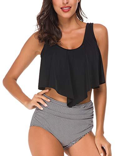 Tempotrek Women Two Pieces Flounce High Waisted Swimsuits Ruffled Tummy Control Bottom Tankini Set Black White