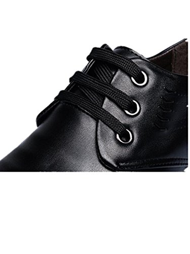 Non Shoes with Sets Shoes Feet Round Business Men Leather Tied Casual Breathable of Black slip qwzXv