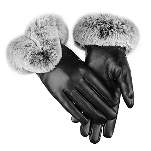 GuGio Womens Winter Gloves, Touchscreen Soft PU Leather Warm Lined Gloves Black