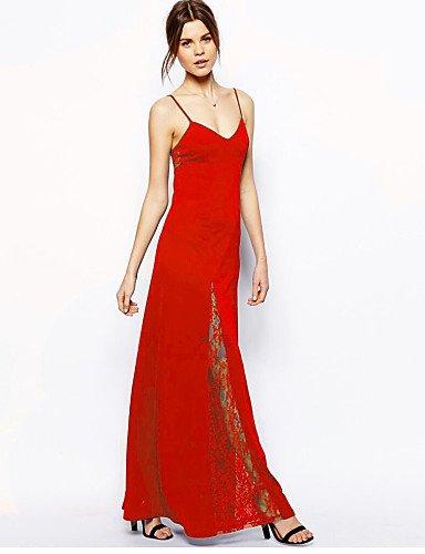 PU&PU Robe Aux femmes Lace Sexy,Couleur Pleine A Bretelles Maxi Polyester / Nylon / Spandex , red-xl , red-xl