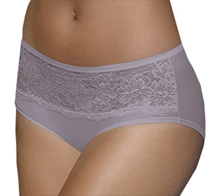 Bali One Smooth U Comfort Indulgence Satin with Lace Hipster - 8, Warm Steel