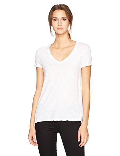 Stateside Women's Slub Jersey Short Sleeve V Neck Tee, White ()