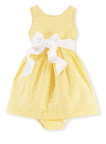 Ralph Lauren Baby Girls' Cotton Seersucker Woven Dress, 12 Months, Yellow