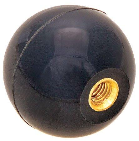 1 7/8 dia., 1/2-20 thds Brass., Black Phenolic Plastic Ball Knob - Inch (1 Each)