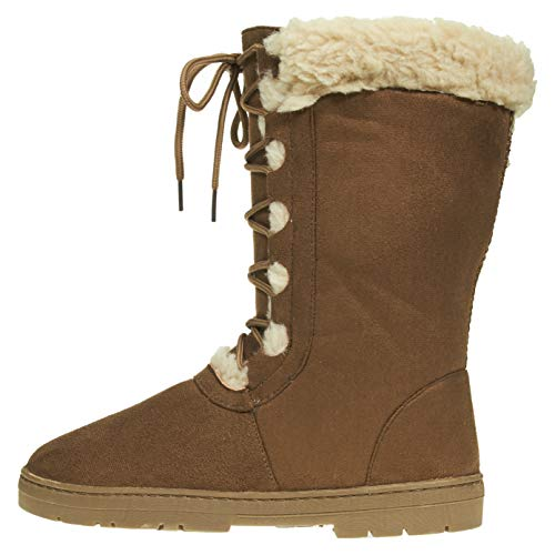 ter Boots Size 11 with Lace Up Front and Fur Trim Casual Mid-Calf Shoes Cognac ()