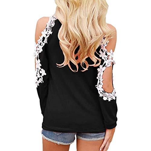 Libero O Tunica Schwarz Off Donna Lunghe Chic Ragazza Shirts Relaxed Pizzo Bluse Shoulder Camicetta Eleganti Maniche Tempo Giuntura Fashion Primaverile Blouse Estivi collo 8wFqU8aS