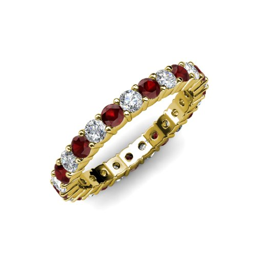 Red Garnet and Diamond Common Prong Eternity Band 2.16 ct tw to 2.59 ct tw in 14K Yellow Gold.size 6.0 (Band Diamond Eternity 2ct Tw)