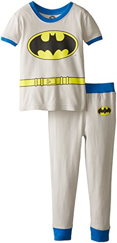 Wayne Family Costume (DC Comics Infant 'Batman Bruce Wayne Logo' Cotton Costume Pajama Set, Grey, 24 Months)