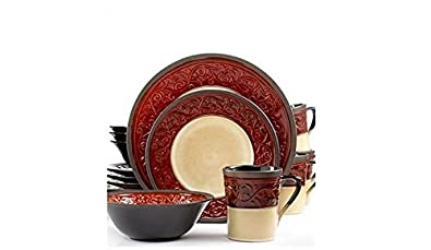 Signature Living Signal Hill Burgundy 16-Piece Stoneware Dinnerware Set; Service for 4  sc 1 st  Amazon.com & Amazon.com: Signature Living Signal Hill Burgundy 16-Piece Stoneware ...