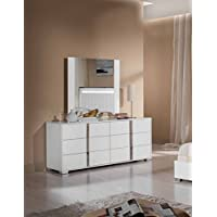 Limari Home The Braden Collection Modern Aluminum Metal Glossy Bedroom Clothes Storage Dresser With 6 Drawers, White