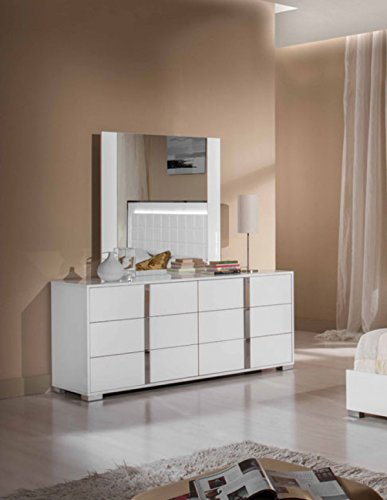 - Limari Home The Braden Collection Modern Aluminum Metal Glossy Bedroom Clothes Storage Dresser With 6 Drawers, White
