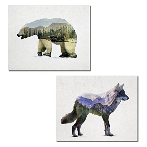Rocky Mountain Cabin Decor - Rustic Rocky Mountain Grey Wolf and Arctic Polar Bear Double Exposure Landscape Set; Cabin Lodge Decor; Two 14x11in Unframed Poster Print