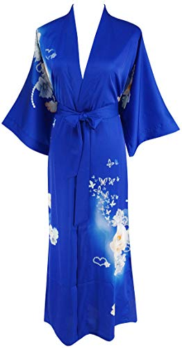 Ledamon Women's Silk Satin Kimono Long Robe - Classic Floral Nightgown Bathrobe Sleepwear (Sapphire -