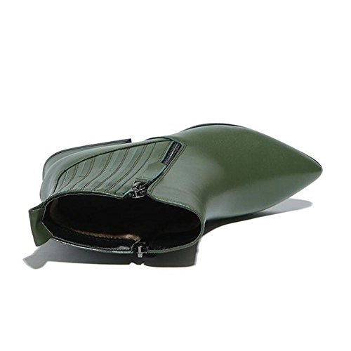 BLACK 34 Genuine Leather Fashion NSXZ Short Elastic Zipper Women's Boots qZ46wxU