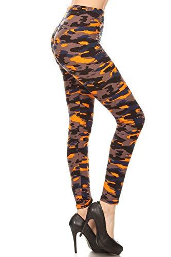 S714-PLUS Camouflage Flame Print Fashion Leggings