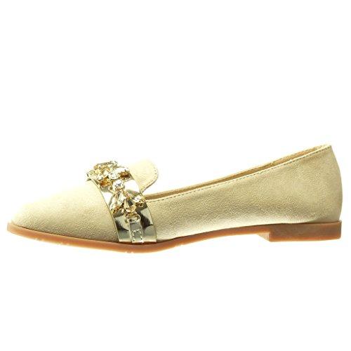 Angkorly - Zapatillas de Moda Mocasines slip-on mujer joyas strass fantasía Talón Tacón ancho 1.5 CM - Beige