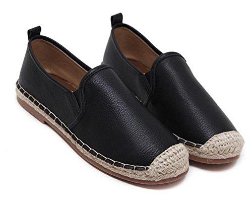pie plano zapatos de Lok YEEY otoño Black Zapatos cabeza tacón mujeres de de Fuk negro ancho blanco de las redonda tejida xqFZXPF