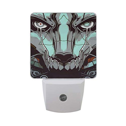 DIY Big Printing Drawing Face Shape Patterns on Plug-in LED Night Light Warm White Night Light for Bedroom Bathroom Hallway Staircase(0.5W 2-Pack)