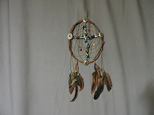 CrossCatcher – A Cross formed from glass beads encircled in a twisted willow branch dream catcher (CC15)