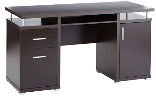 Computer Desk with 2 Drawers and Cabinet Cappuccino (Drawer With Computer Desk)