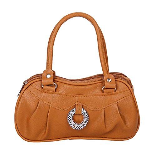 Clearance! Women Shoulder Bag, Neartime 2018 Fashion Pure color Zipper Handbag Soft Leather Satchel Tote Pleated Purse (❤️ 21cm(L)×6cm(W)×12cm(H), Brown)