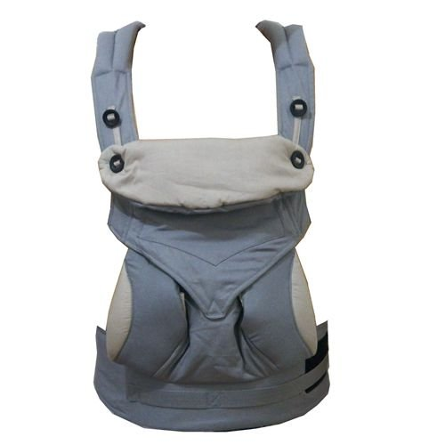 KatyLand Baby Carrier Backpack 360 - 4 Ergonomic Carry Positions - 100% Organic Cotton Machine Washable - Baby Sling Carrier adjustable with Sleeping Hood Grey