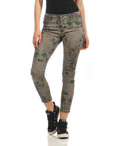 Larghi Zipper Boyfriend Button Jeans Denim J8190 Pattern Floral Donna Zarmexx Fiore Pantaloni Da Front Grigio qpPUFpIw