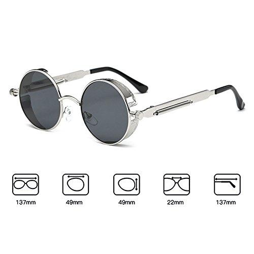 gótico mujeres redondo hombres gafas para Steampunk sol C20 gafas retro metal vintage Juleya de UV400 de espejo vEqdnRvz