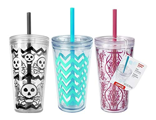 - Copco Minimus Double Wall Insulated Tumbler with Removable Straw, 24 oz, Set of 3 (Damask Red, Skulls Grey and Chevron Cyan Blue)