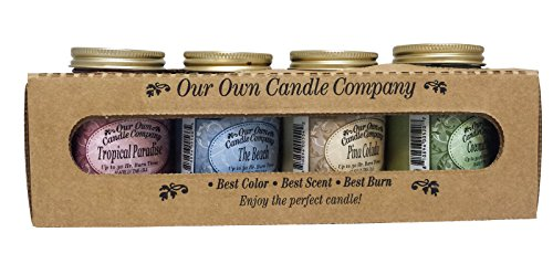 4 Pack Spring Assortment Mini Mason Jar Candles - 3.5 Oz Tropical Paradise, 3.5 Oz the Beach, 3.5 Oz Pina Colada, 3.5 Oz Coconut Lime, By Our Own Candle Company