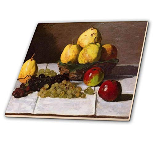 3dRose Print of Monet Painting Pears and Grapes - Ceramic Tile, 12-Inch (ct_203744_4)