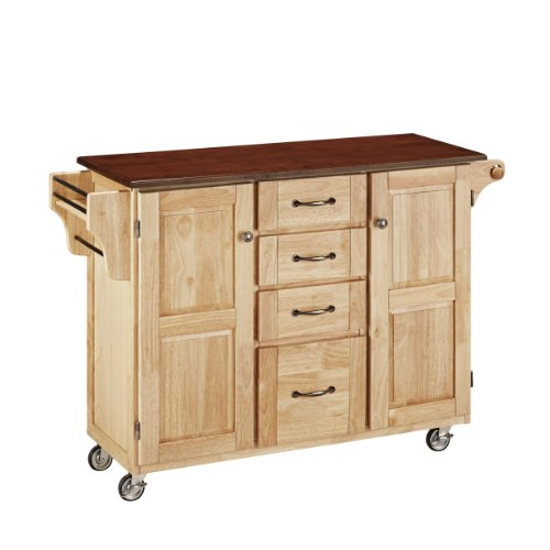 Home Styles 9100 1017G Create A Cart  Natural Finish With Cherry Top